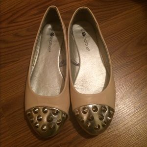Nude and Silver Ballet Flats